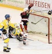 Der Herisauer Stürmer Philipp Aerni freut sich in der 13. Minute über sein Tor zum 1:1. (Bild: Mea McGhee)
