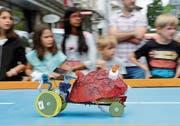 Ernas Dürrmüllers «Schrumpfeli» war zwar nicht das schnellste Solarmobil, beendete aber das Rennen ohne Panne. (Bild: Marlies Scarpino)