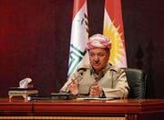 Kurdenführer Masud Barzani bei einer Medienkonferenz. (Bild: Yunus Keles/Getty (Arbil, 6. September 2017))