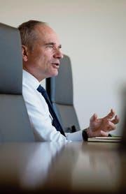 Ruag-CEO Urs Breitmeier beim Interview am vergangenen Freitag in Zürich-Seebach, einem der Standorte des Technologiekonzerns in der Schweiz. (Bild: Corinne Glanzmann)