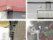 Überwachungskameras befinden sich in Rorschach an verschiedensten Standorten: Unter anderem bei der Bijouterie Federer, beim Seerestaurant, bei der Chäslaube Kündig oder am Curtisplatz (im Uhrzeigersinn). (Bild: Jolanda Riedener)