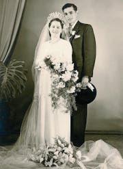 Das Ehepaar Bösch bei der Hochzeit am 13. Oktober 1951… (Bild: PD)
