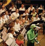Als Kermit der Frosch führte Gregor Itel durch das Programm. (Bild: Dieter Ritter)