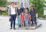 Die Gründerinnen des Trogner Krämermarktes: Anna Good, Anna Lutz, Nadya Sennhauser und Pascale Cattaneo. (Bild: ker)