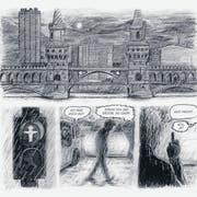 Eindrückliche Szenen in Grau und Anthrazit: Ausschnitt aus Hamed Eshrats «Venustransit». (Bild: Avant Verlag)
