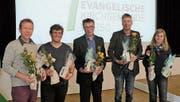Die Neugewählten: Markus Graf, Thierry Thurnheer, René Schaub (alle Synode) sowie Torbjörn Herrmann und Sonja Neff (beide GPK). (Bild: PD)