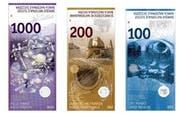 Die neuen Noten, die noch nicht im Umlauf sind. Die 200er-Note wird am 15. August präsentiert. (Bild: snb)