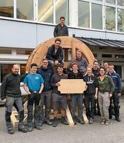 In 350 Stunden haben die Lernenden der Appenzeller Holzfachschule ihr Wasserrad gebaut. (Bild: PD)