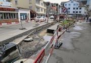 Auf den Baustellen an der Rorschacher Hauptstrasse kann diese Woche wegen des hohen Seepegels nicht gearbeitet werden. (Bild: Henrik Jochum)