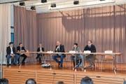Am Podium: Mike Thoma, Florinda Sabatino und Markus Gehret. Verena Blatter konnte krankheitshalber nicht teilnehmen. (Bild: Roman Scherrer)