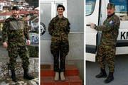 Die St.Galler Thierry Widmer, Nadine Rhyner und Cornel Zellweger dienen in Kosovo (Bild: Katharina Brenner)