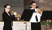 Kurt und Milena Rothenberger sind bei der Uraufführung der Komposition «Quartetto marciale» voll konzentriert. (Bild: Heidy Beyeler)