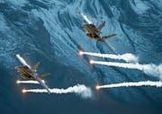 Zwei F/A-18 Hornets beim traditionellen Axalp-Schiessen der Schweizer Luftwaffe im vergangenen Oktober im Berner Oberland. (Bild: Christian Merz/Keystone)