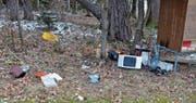 Illegal entsorgt: Verschiedenste Gegenstände lagen anfangs Woche im Eschliker Wald Stockenholz. (Bild: Christoph Heer)