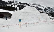 Das Werk nimmt Formen an: 2000 Kubikmeter Schnee für eine «Toggenburg» auf Zeit. (Bild: Sabine Schmid)