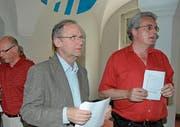 Eifern bei der Abstimmung im Jahr 2008: die damaligen Kantonsräte Ivo Müller und Martin Brülhart. (Bild: APZ)