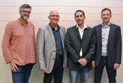 Die Kandidaten fürs Gemeindepräsidium: Stefan Diener (Moderator), Philipp Dörig, Michael Suter und Roman Habrik (von links).