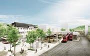 Für 38 Millionen Franken soll der Bahnhof Herisau aufgewertet werden – der Bund stellt nun das Vorhaben in Frage. (Bild: PD)