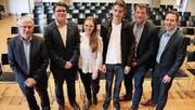 Die Podiumsteilnehmer: Walter Müller, Aurel Gautschi, Aline Senn, Marc Dönni, Werner Gartenmann und Lukas Wegmüller. (Bild: Barbara Hettich)