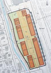 Die sieben Baukörper zwischen den Bahngleisen und dem Giessen sowie den Verlängerungen der Wiedenstrasse und der Kornstrasse bilden die Wohnüberbauung «Rheincity». (Bild: Heini Schwendener)