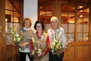 Wurden für ihren langjährigen Einsatz im Samariterverein Grabs geehrt: Irma Mäder, Doris Deuring und Elisabeth Lippuner. (Bild: PD)