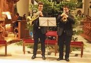 Auftritt in der Pelagiuskirche: Michael Widmer (Orgel), Elia Bolliger (Horn) und Urs Itin (Trompete). (Bild: Erwin Schönenberger)