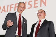 Verwaltungsratspräsident André Ess und Bankleiter Josef Maier. (Bild: pd)