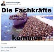 Aufgrund dieses Bildes wurde die Facebook-Seite des SVP-Politikers Christoh Mörgeli gesperrt. (Bild: PD)