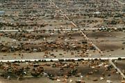 Fleisch bis zum Horizont: 150 000 Rinder verteilt auf drei Quadratkilometer kahlem Boden stehen auf einer der grössten Mastanlagen der USA in Idaho. Kein Land der Welt produziert mehr Rindfleisch als die USA. (Bild: Glowimages (Glowimages RF))