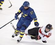 Kämpfen bis zum Umfallen: Dominique Rüegg aus Rossrüti im letzten Gruppenspiel gegen Schweden. (Bild: Thomas Schreyer/Freshfocus)