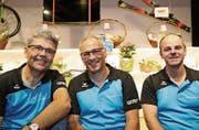 Gaben sich in Bezug auf die eigene Familie siegessicher: Jörg Brack, Röbi Meier und Reto Bühler. (Bilder: Chris Marty)