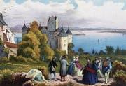 Bild: Meersburg, Altes Schloss von Nordwesten, Lithographie eines unbekannten Künstlers, um 1860/70