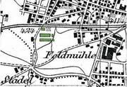 In der alten Karte ist im Quartier erst die Fabrik Baum (ab 1924 Aluminiumwerke) sichtbar. Pestalozzischulhaus und -strasse gab's noch nicht. (Bild: Karte: Swisstopo (Rorschach, 1902))