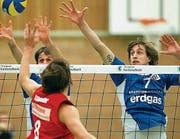 Spielt Christophe Augsburger (r.) nochmals für Volley Amriswil? (Archivbild: Mario Gaccioli)