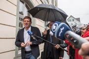 Jan Ullrich bei seiner Ankunft zur Gerichtsverhandlung im Rathaus Weinfelden. (Bild: Thi My Lien Nguyen)