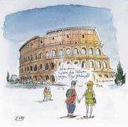 Sie planen Ferien? Nun, dann könnte Italien ja ein Ziel sein. Dorthin reist Peter Gaymann jedes Jahr, denn er liebt das südliche Lebensgefühl, alles Unperfekte mit mehr Leichtigkeit zu nehmen. In Gaymanns Karikaturen spiegelt sich diese liebevolle Zuwendung - und auch ein wenig Spott über jene Touristen, die jeden Sommer das Land überfluten. In der allerletzten Karikatur sitzen zwei am Strand. Sagt er: «Sonnenuntergang!» Antwortet sie: «So was können nur die Italiener.» (R. A.)