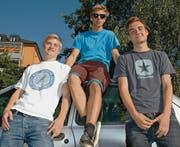 Auf dem Sprung: (von links) Fridolin Petersen, Samuel Lutz und Sebastian Schuler. (Bild: pk)