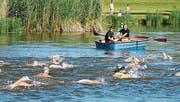 80 Helfer sorgen am Sonntag für die nötige Sicherheit der Teilnehmer am Triathlon Märwil. Beispielsweise beim Schwimmen im Riet. (Bild: PD)