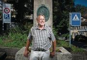 Max Lemmenmeier an der St. Galler Falkenburgstrasse, wo er aufgewachsen ist. (Bild: Benjamin Manser)