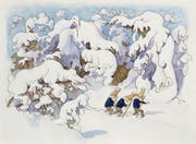 In Tannen und Sträuchern schlummern Ungeheuer: ein Blatt aus Ernst Kreidolfs «Wintermärchen», entstanden 1917. (Bild: Pro Litteris, Zürich)
