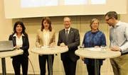 Susanne Giger, Denise Laufer, Walter Schönholzer, Jeanne Pestalozzi-Racine und Florian Wettstein. (Bild: Hugo Berger)