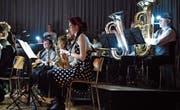 Die Musikgesellschaft Müllheim unterhält ihr Publikum unter dem Motto «Jukebox». (Bild: Andreas Taverner)