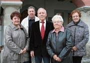 Sie leiten den Glarnerverein Wil und Umgebung: Elisabeth Noser, Herbert Rhyner, Balz Tschudi (Präsident), Regina Faoro und Elfriede Schneebeli.