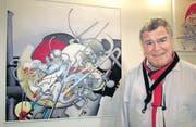 Maler und Bandleader Kurt Lauer vor einem seiner Werke. (Bild: Ernst Hunkeler)