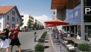 So könnte es in Romanshorn einst aussehen: Mit einer Umzonung will die IG Hafen den Bau von Wohnblöcken (links hinten) verhindern. (Bild: Visualisierung: pd)