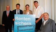 Paul Rutishauser, Hanspeter Heeb, Elisabeth Rickenbach, Jürg Schuhmacher und Christian Lohr. (Bild: Kurt Peter)