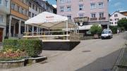 Auf dem Bärenplatz steht bis Ende Juli ein Pavillon.