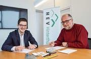 Geschäftsstellenleiter Gabriel Walzthöny und Präsident Matthias Erne. (Bild: Christoph Heer)
