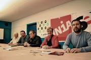 Rita Kägi (Gewerkschaftsbund), Namon Osmani (Syndicom), Stefan Brülisauer (Unia), SP-Nationalrätin sowie Gewerkschaftsbund-Präsidentin Edith Graf-Litscher und Felix Birchler (SEV). (Bild: Silvan Meile)