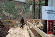 Unterhalb der dem Abbruch geweihten Brücke ermöglicht ab sofort ein Holzsteg das Überqueren des Eichenbachs. (Bild: Peter Eggenberger)